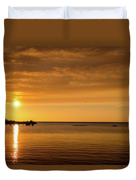 Duvet Cover featuring the photograph Rowingteam by Onyonet  Photo Studios