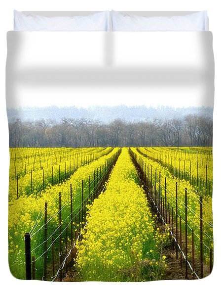 Rows Of Wild Mustard Duvet Cover by Tom Reynen