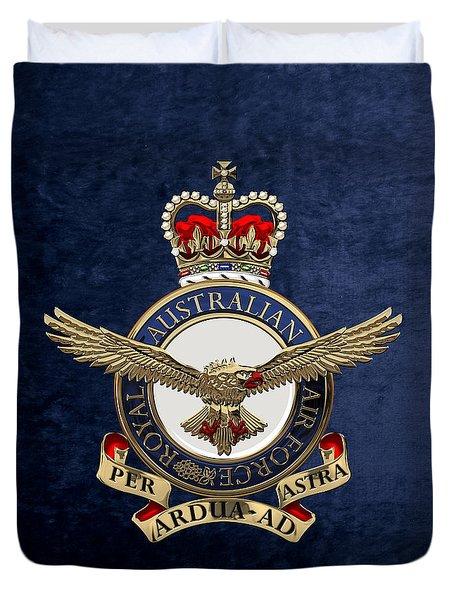 Royal Australian Air Force -  R A A F  Badge Over Blue Velvet Duvet Cover