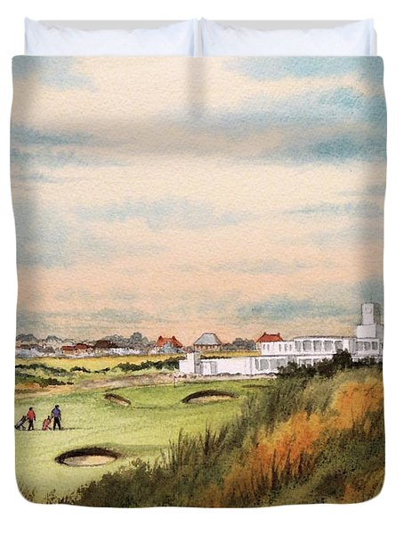 Royal Birkdale Golf Course 18th Hole Duvet Cover by Bill Holkham