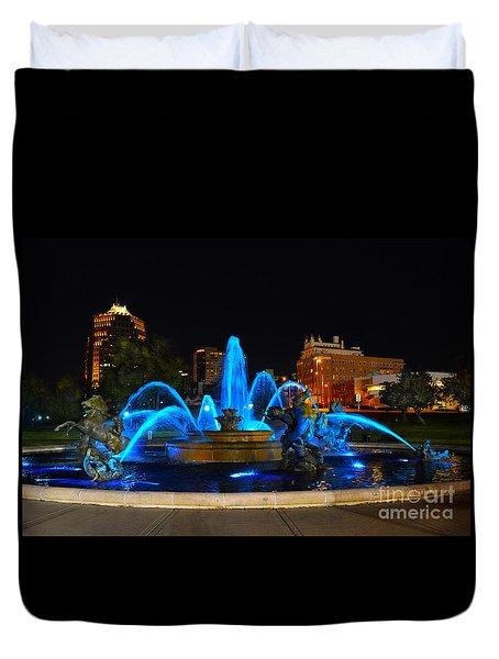 Royal Blue J. C. Nichols Fountain  Duvet Cover by Catherine Sherman