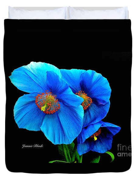 Royal Blue Poppies Duvet Cover