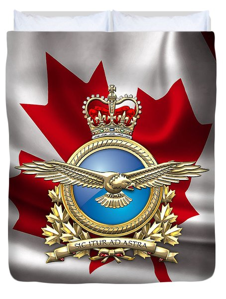 Royal Canadian Air Force Badge Over Waving Flag Duvet Cover