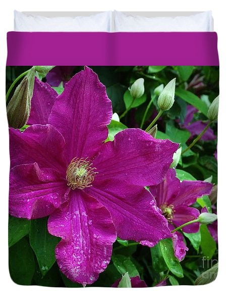 Duvet Cover featuring the photograph Royal Clematis by J L Zarek