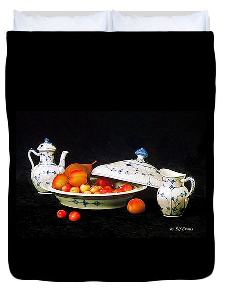 Royal Copenhagen And Fruits Duvet Cover by Elf Evans