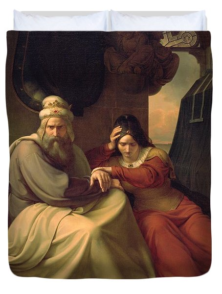 Royal Couple Mourning For Their Dead Daughter Duvet Cover by Carl Friedrich Lessing