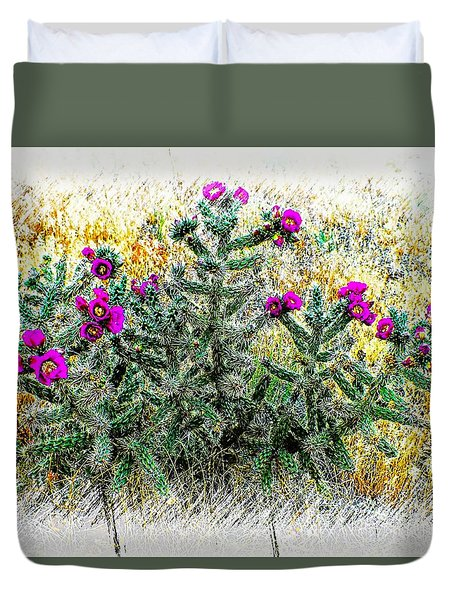 Royal Gorge Cactus With Flowers Duvet Cover by Joseph Hendrix
