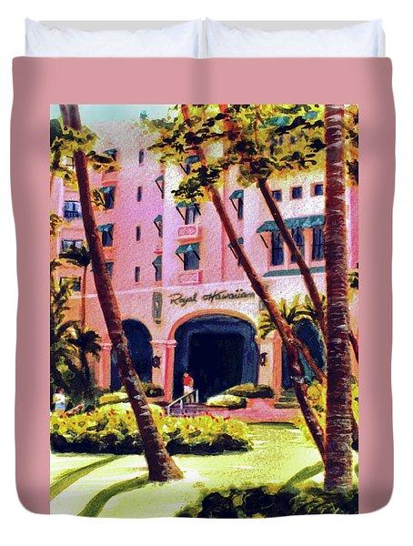Royal Hawaiian Hotel On Waikiki Beach #131 Duvet Cover by Donald k Hall