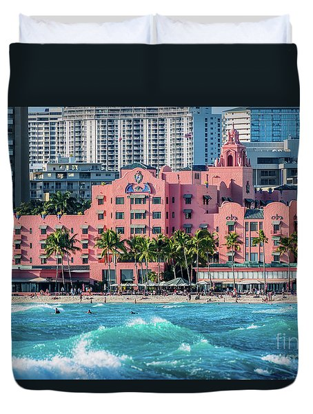 Royal Hawaiian Hotel Surfs Up Duvet Cover