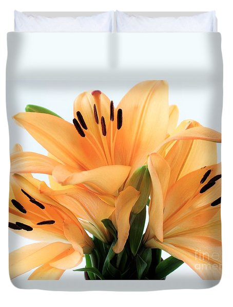Duvet Cover featuring the photograph Royal Lilies Full Open - Close-up by Ray Shrewsberry