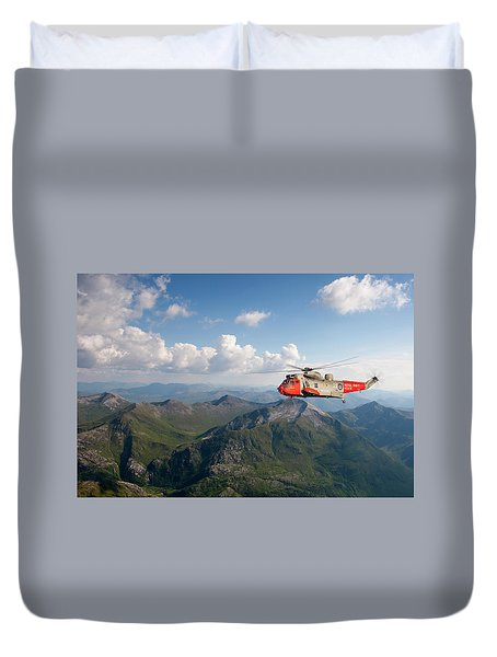 Duvet Cover featuring the digital art Royal Navy Sar Sea King by Pat Speirs