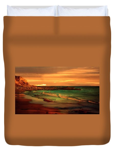 Royal Palms Beach At White Point Duvet Cover