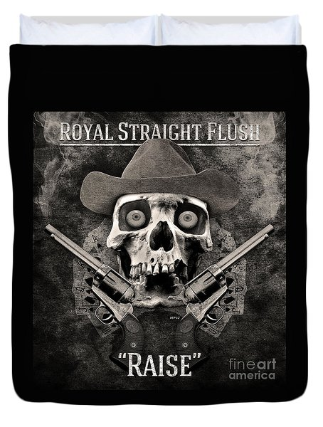 Duvet Cover featuring the digital art Royal Straight Flush by Phil Perkins