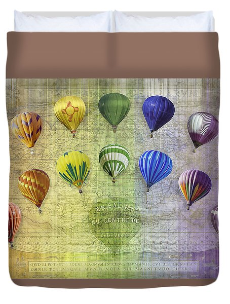 Duvet Cover featuring the digital art Roygbiv Balloons by Melinda Ledsome