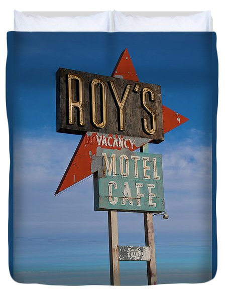 Duvet Cover featuring the photograph Roy's Motel Cafe by Matthew Bamberg