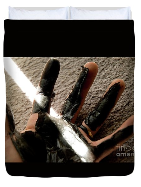 Duvet Cover featuring the photograph Rubber Hand by Micah May