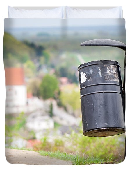 Rubbish Bin On The Hill And Blurred Dale View  Duvet Cover