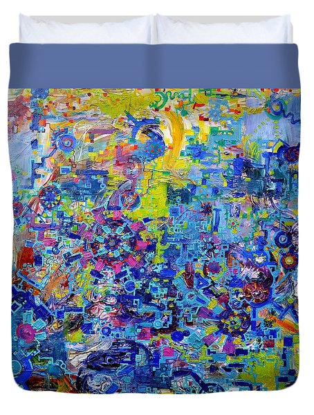 Rube Goldberg Abstract Duvet Cover by Regina Valluzzi