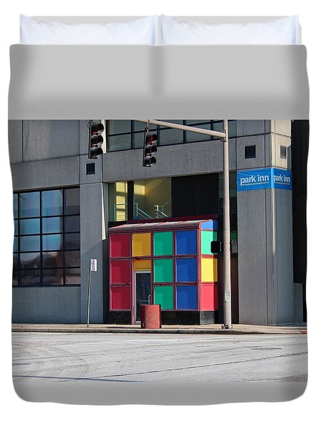 Duvet Cover featuring the photograph Rubik Shelter by Michiale Schneider