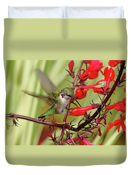 Ruby And Scarlet Duvet Cover by Debbie Oppermann