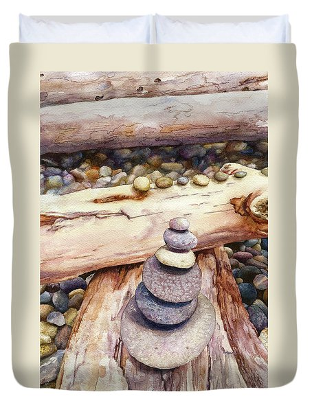 Duvet Cover featuring the painting Ruby Beach by Anne Gifford