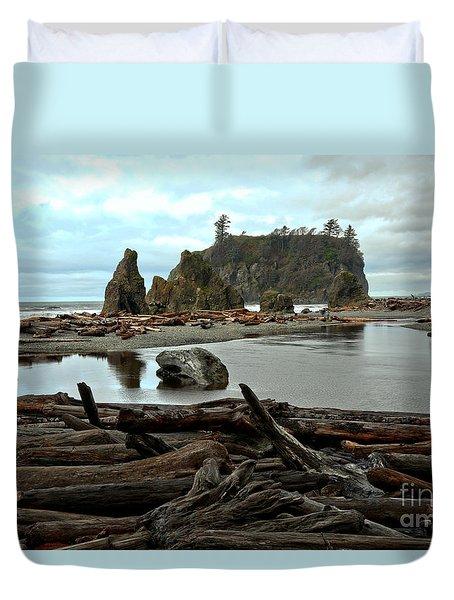 Ruby Beach Driftwood Duvet Cover