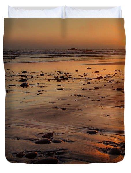 Ruby Beach Sunset Duvet Cover