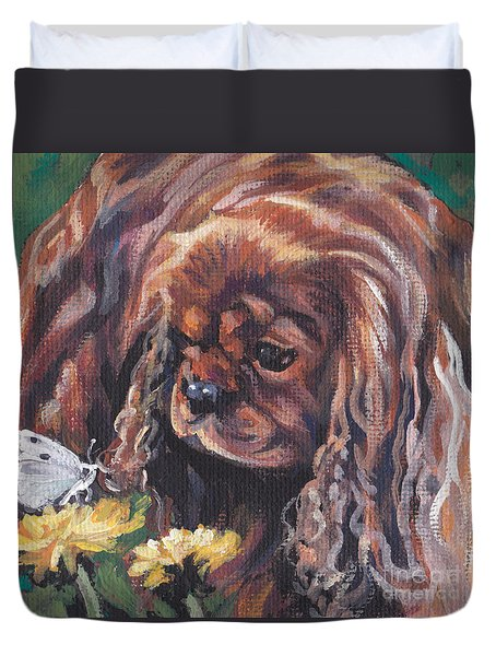 Duvet Cover featuring the painting Ruby Cavalier King Charles Spaniel by Lee Ann Shepard