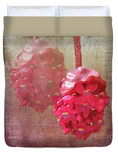 Ruby Colored Orchid Duvet Cover