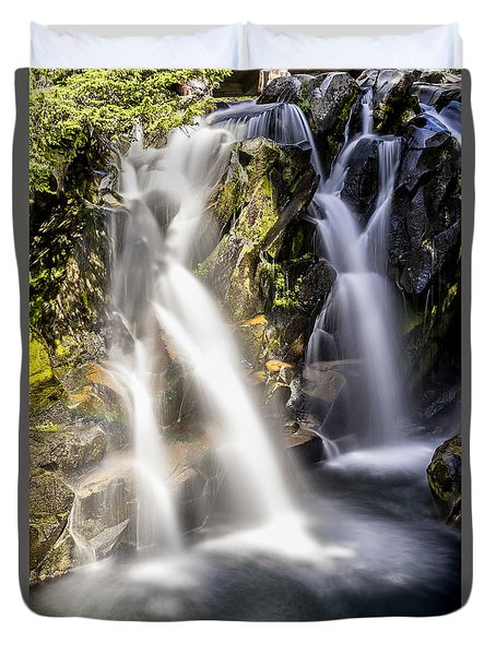 Duvet Cover featuring the photograph Ruby Creek Lower Falls Mt Rainier by Rob Green
