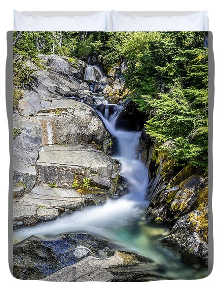 Duvet Cover featuring the photograph Ruby Creek Mt Rainier by Rob Green
