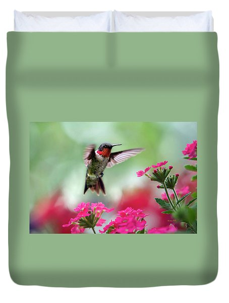 Ruby Garden Jewel Duvet Cover by Christina Rollo