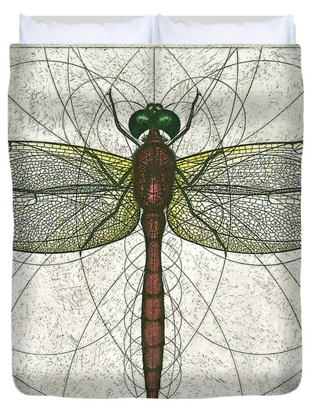 Ruby Meadowhawk Dragonfly Duvet Cover