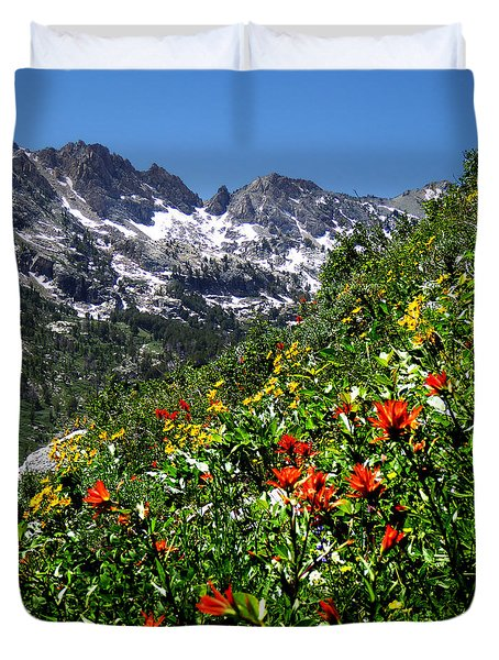 Ruby Mountain Wildflowers - Vertical Duvet Cover