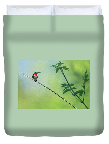 Ruby Red Perch Duvet Cover