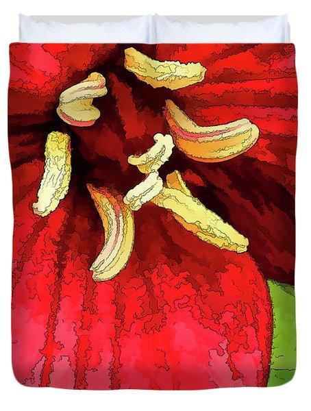 Ruby Red Trillium Duvet Cover