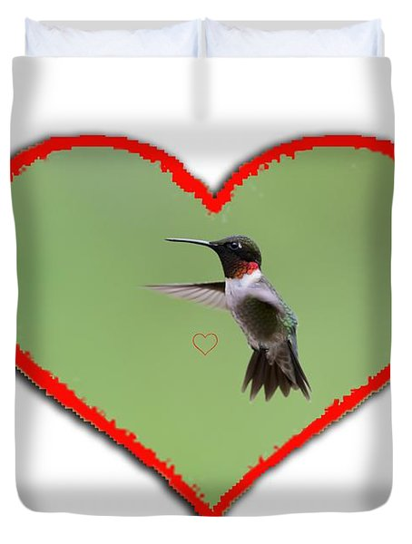Ruby-throated Hummingbird In Heart Duvet Cover