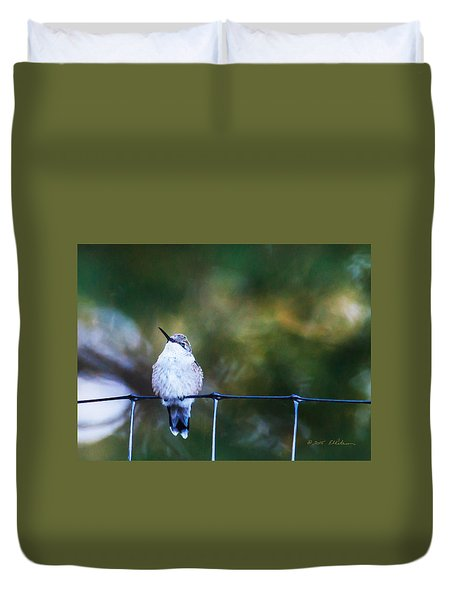 Ruby-throated Hummingbird  Staying Warm Duvet Cover by Edward Peterson