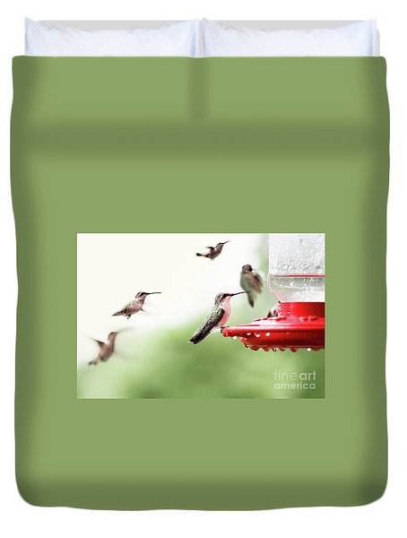 Duvet Cover featuring the photograph Ruby-throated Hummingbirds by Stephanie Frey