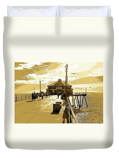 Ruby's At The Pier Duvet Cover by Everette McMahan jr
