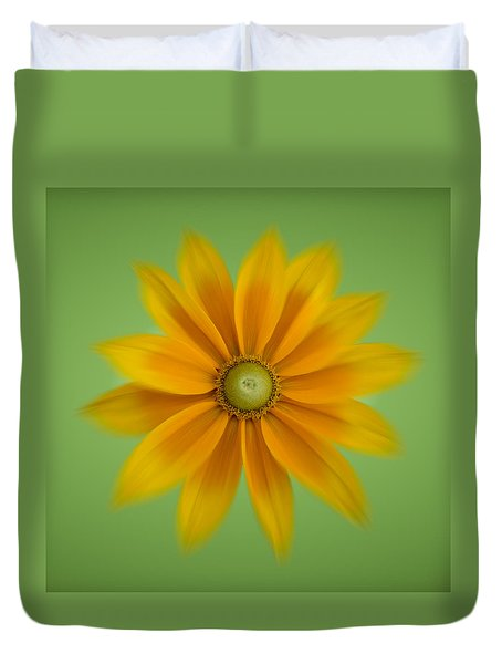 Duvet Cover featuring the photograph Rudbeckia Blossom Irish Eyes - Square by Patti Deters