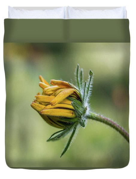 Duvet Cover featuring the photograph Rudbeckia Fuzzy Bud by Patti Deters