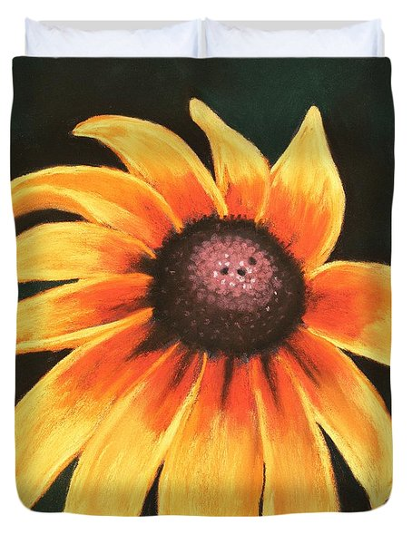 Duvet Cover featuring the painting Rudbeckia Hirta by Anastasiya Malakhova