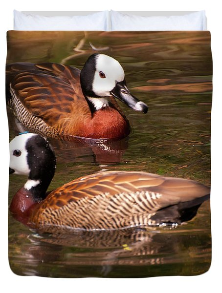 Duvet Cover featuring the digital art White-faced Whistling Duck by Chris Flees