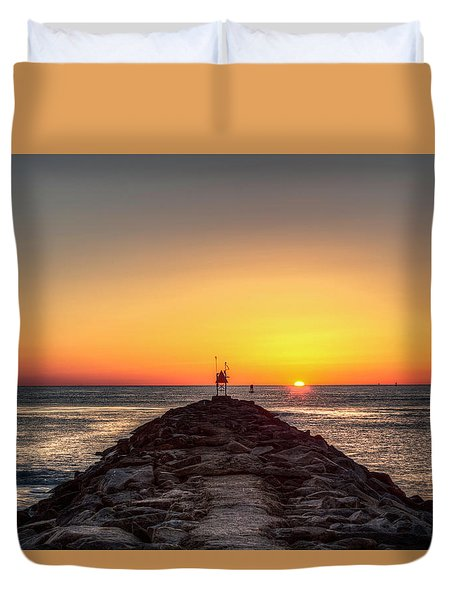 Rudee Inlet Jetty Duvet Cover