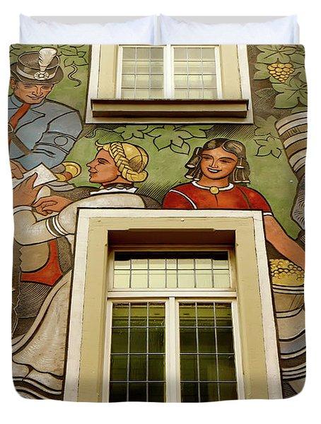 Duvet Cover featuring the photograph Rudesheim Mural by KG Thienemann