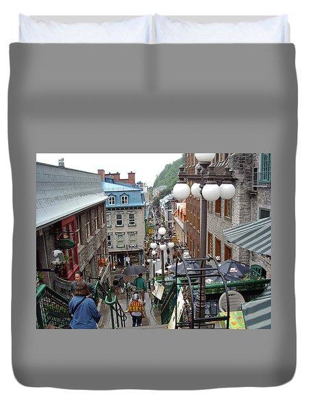 Duvet Cover featuring the photograph rue du Petit Champlain by John Schneider