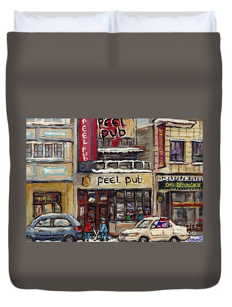 Rue Peel Montreal Winter Street Scene Paintings Peel Pub Cafe Republique Hockey Scenes Canadian Art Duvet Cover