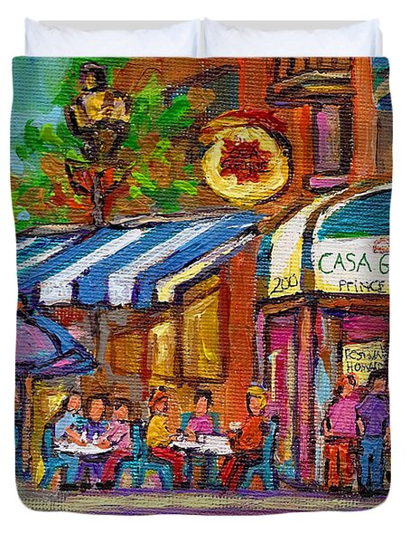 Rue Prince Arthur Casa Grecque Montreal Duvet Cover by Carole Spandau
