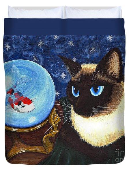 Rue Rue's Fortune - Siamese Cat Koi Duvet Cover